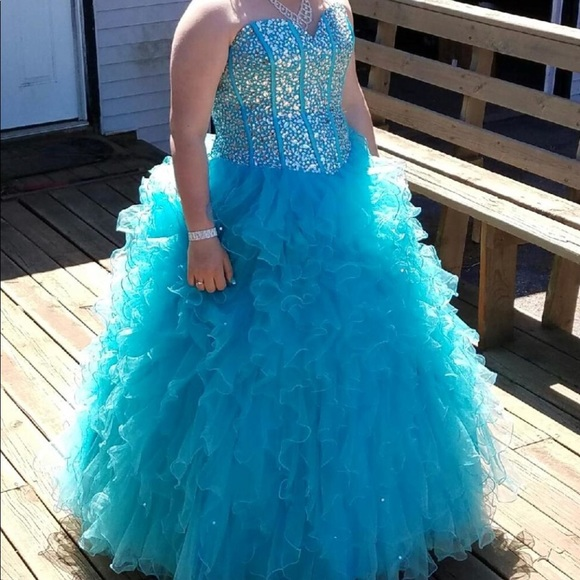 A Teal Blue Prom Dress With Gems On The Bodice | Poshmark